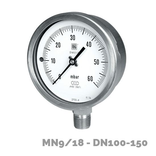 Manómetros para baja presión MN9/18 DN100-150 - Nuova Fima